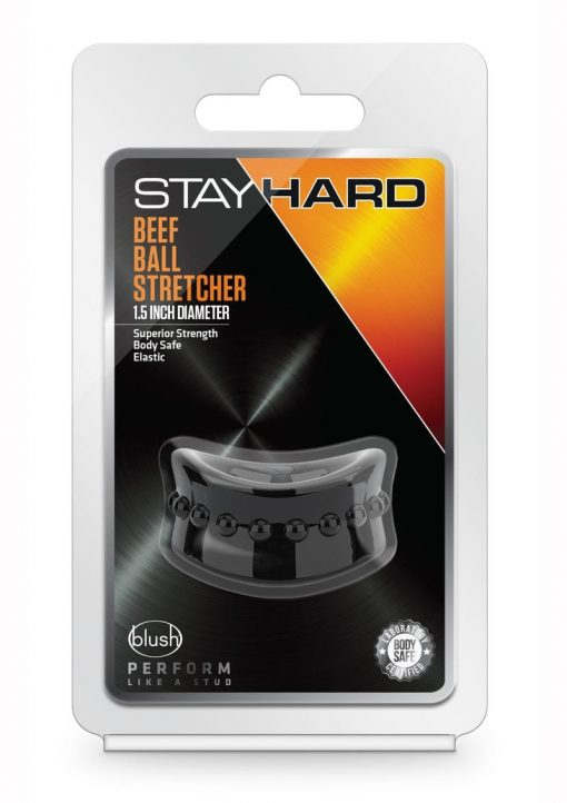 Stay Hard Beef Ball Stretcher 1.5 Inch Diameter Cock Ring Black