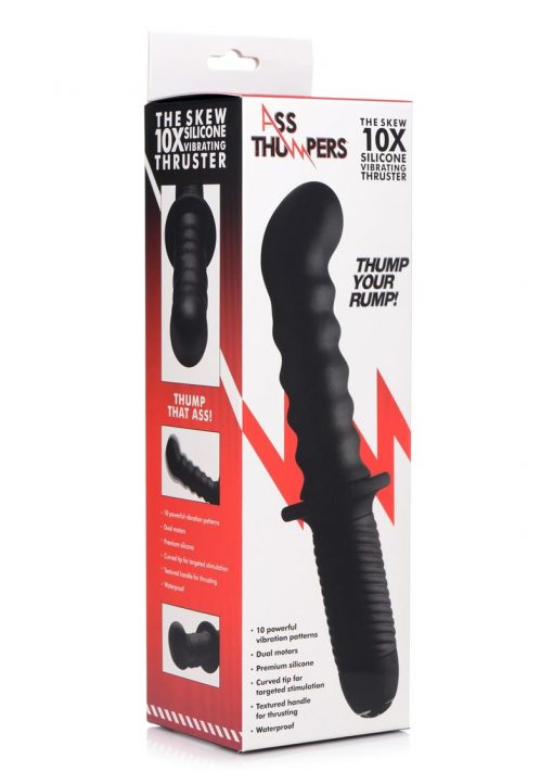 Ass Thumpers The Skew 10X Vibrating Anal Tjruster With Textured Handle Waterproof Black