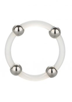 Steel Beaded Silicone Cock Ring Large Clear