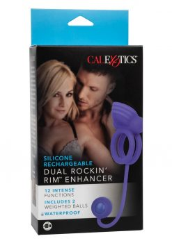 Silicone Recharge Dual Rockin Rim Enchancer Cock Ring Waterproof Purple