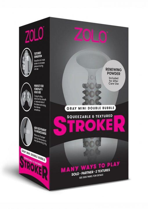 Zolo Squeezable and Textured Mini Double Bubble Male Masurbator Non Vibrating Grey