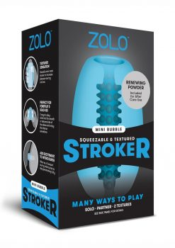 Zolo Squeezable and Textured Mini Bubble Male Masurbator Non Vibrating Blue