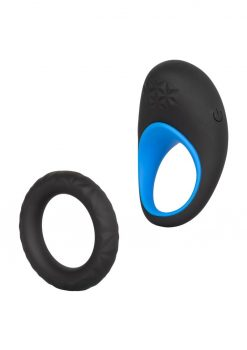 Link Up Max Silicone Cockring And Support Ring USB Rechargeable Black/Blue