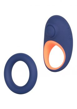 Link Up Verge Silicone Thumping Cockring And Support Ring USB Rechargeable Blue/Pink