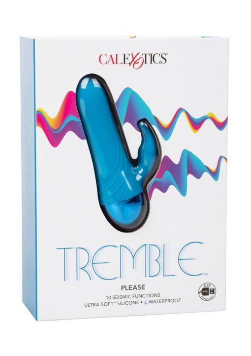 Tremble Please Silicone USB Rechargeable Vibrator With Clitoral Stimulator Waterproof Blue 4.75 Inches