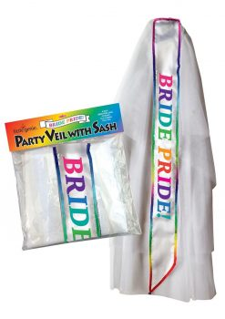 Bride Pride Party Veil With Sash White