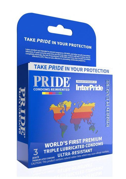 Pride Ribbed Pleasure Condoms 3pk
