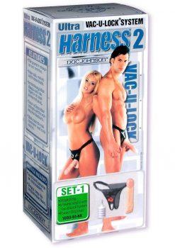 Vac U Lock Ultra Harness 2 And Plug With Dong 8 Inch Flesh
