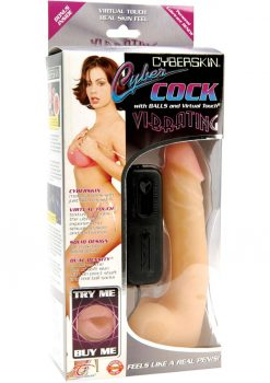 Cyberskin Vibrating Cyber Cock With Balls 6 Inch Natural