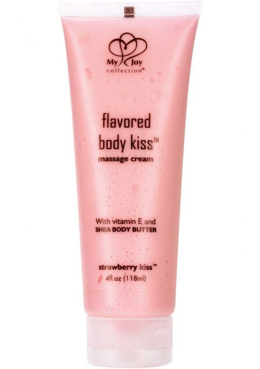 Flavored Body Kiss Water Based Massage Cream Strawberry Kiss 4 Ounce