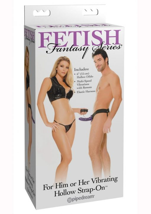 Fetish Fantasy Series For Him Or Her Vibrating Hollow Strap-On Dildo And Adjustable Harness With Remote Control 6in - Purple