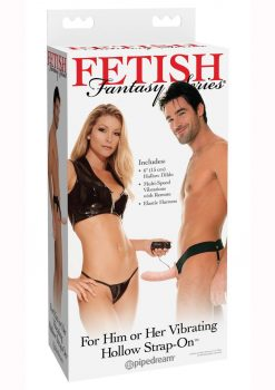 Fetish Fantasy Series For Him Or Her Vibrating Hollow Strap-On Dildo And Adjustable Harness With Remote Control 6in - Vanilla