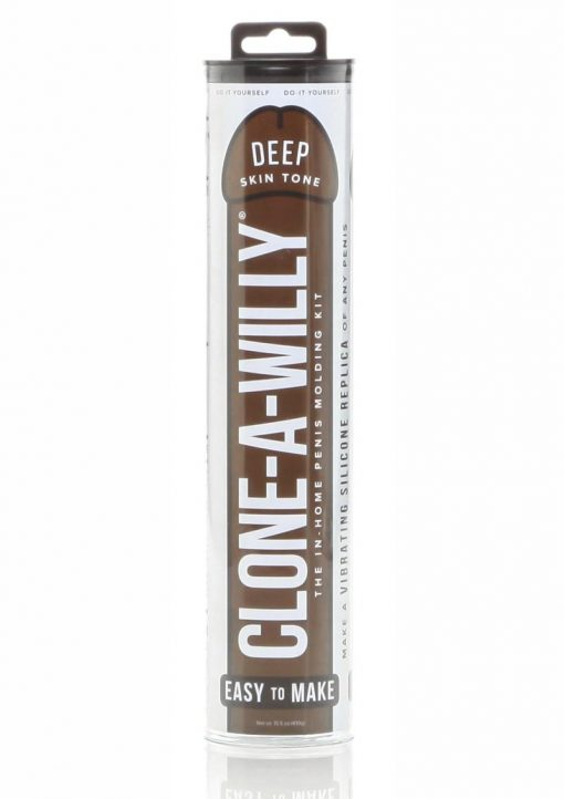 Clone-A-Willy Silicone Dildo Molding Kit With Vibrator - Deep Skin Tone - Chocolate